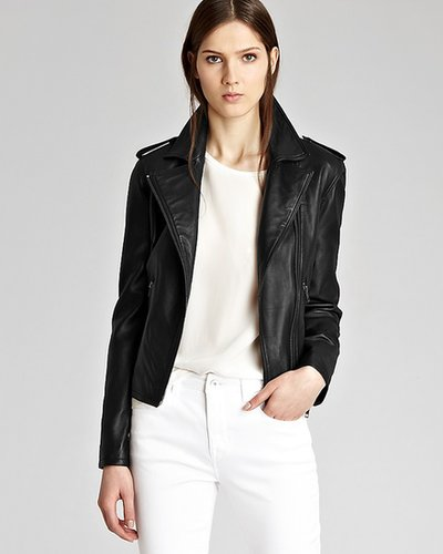 REISS Leather Jacket - Kara Slim Cropped Biker