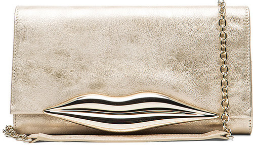 Diane von Furstenberg Flirty Clutch in Champagne Metallic