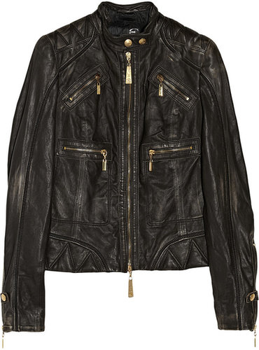 Just Cavalli Distressed-leather biker jacket