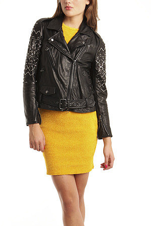 3.1 Phillip Lim Leather Motorcycle Jacket with Rhinestone Sleeves