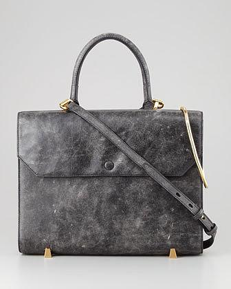 Alexander Wang Chastity Gold Sling Satchel Bag, Black/White