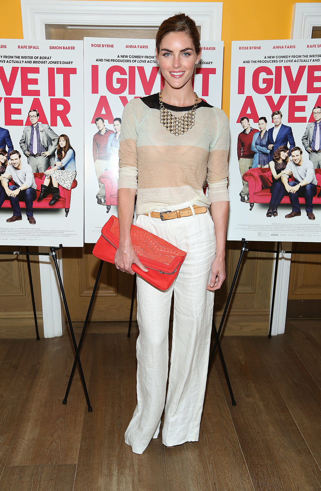 Hilary Rhoda accessorized her crisp separates for maximum impact at the I Give It a Year screening.
