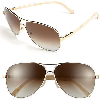 Chloe 61mm Aviator Sunglasses Gold/ White One Size