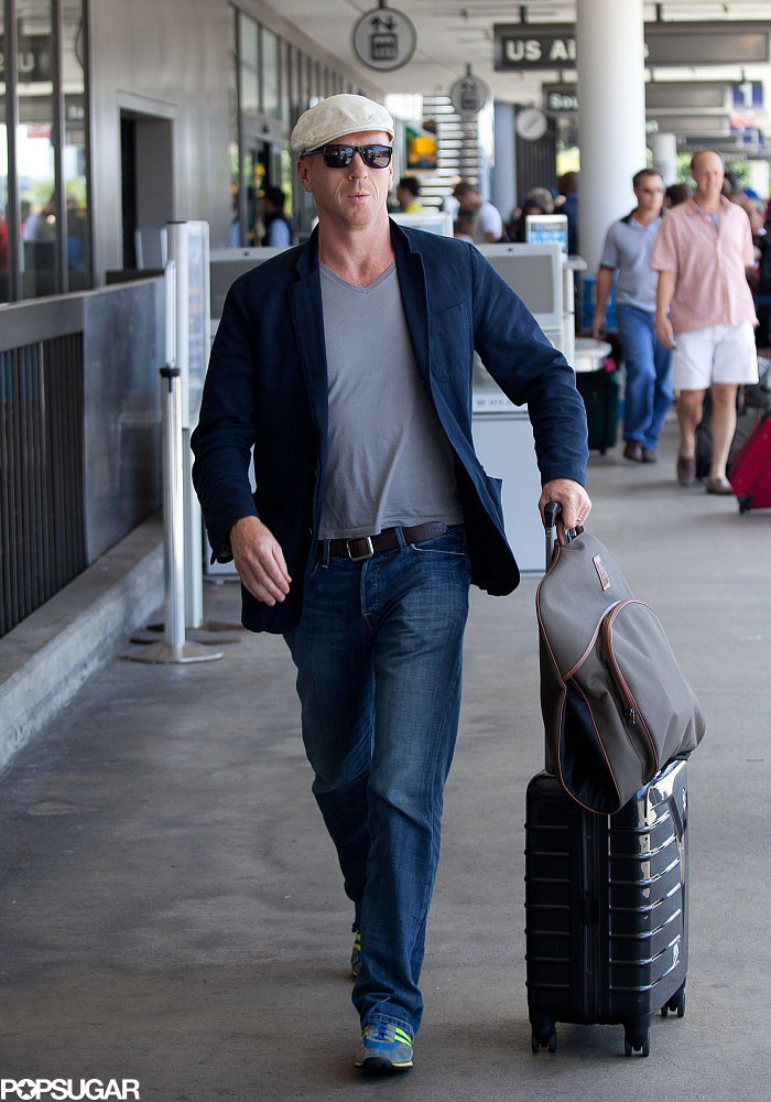 Damian Lewis wore a white hat at LAX.