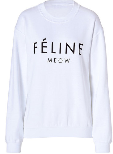 Brian Lichtenberg Cotton Blend Feline Sweatshirt in White/Black