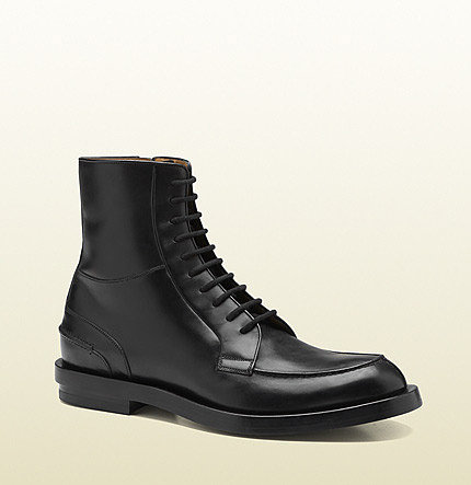 Black Leather Lace-Up Military Boot