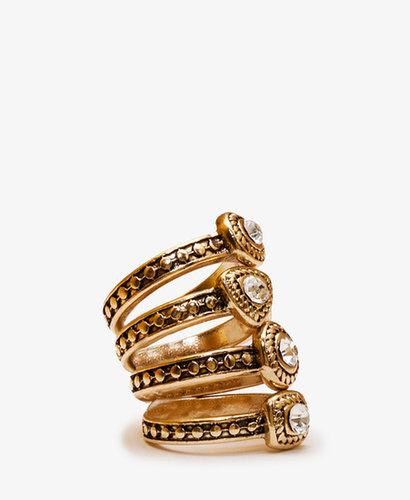 FOREVER 21 Rhinestoned Ring Set