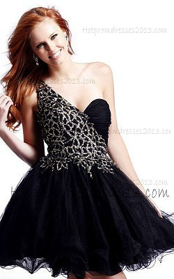 A Line Cheap Black One Strap Sequin tulle Prom Dresses Discount