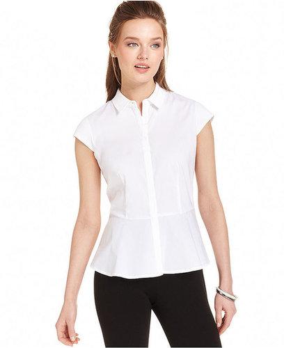 Anne Klein Top, Cap-Sleeve Peplum Shirt