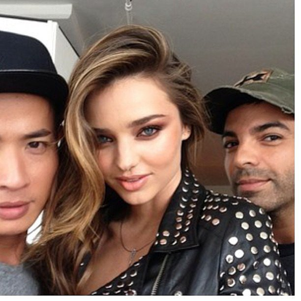 Miranda Kerr showed off her gorgeous smoky eye, and her flipped-over hairstyle was courtesy of Harry Josh, who peeked into the photo over her left shoulder. Source: Instagram user harryjoshhair