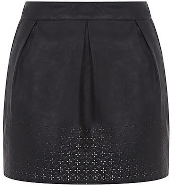 Petite black leather look skirt