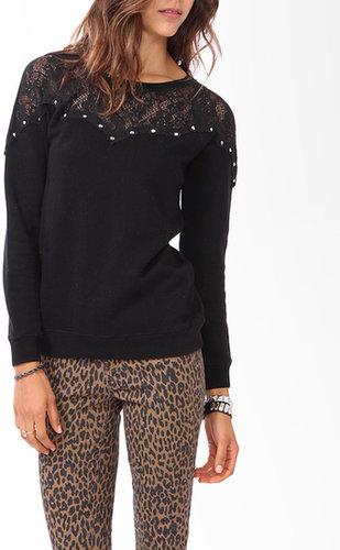 FOREVER 21 Studded Lace Sweatshirt