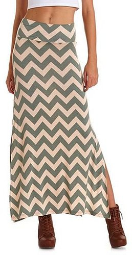 Chevron Double Slit Maxi Skirt