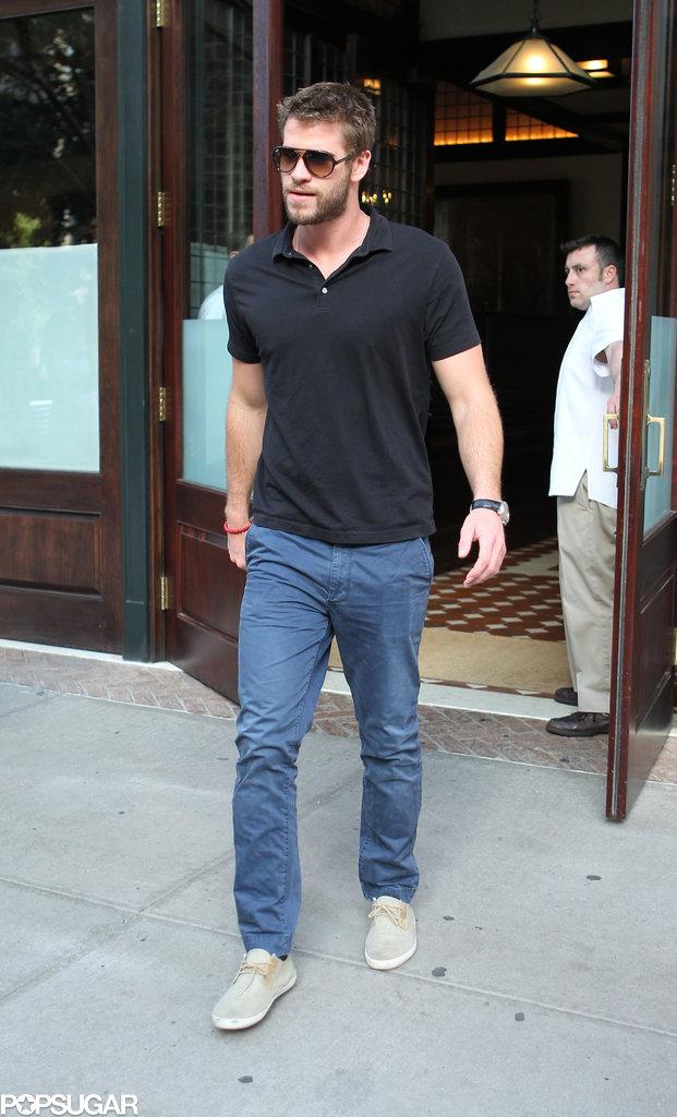 Liam Hemsworth left his hotel in NYC.