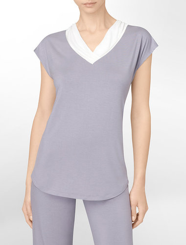 Naked Glamour Cap Sleeve V-Neck Pajama Top
