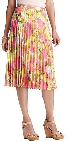 Petite Floral Print Pleated Mid Length Skirt