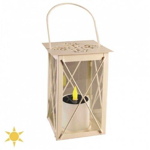 Lanterne carrée solaire métal blanc