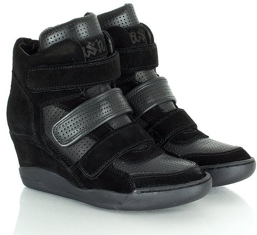 Ash Alex Women's Black Suede Wedge High Top Trainer