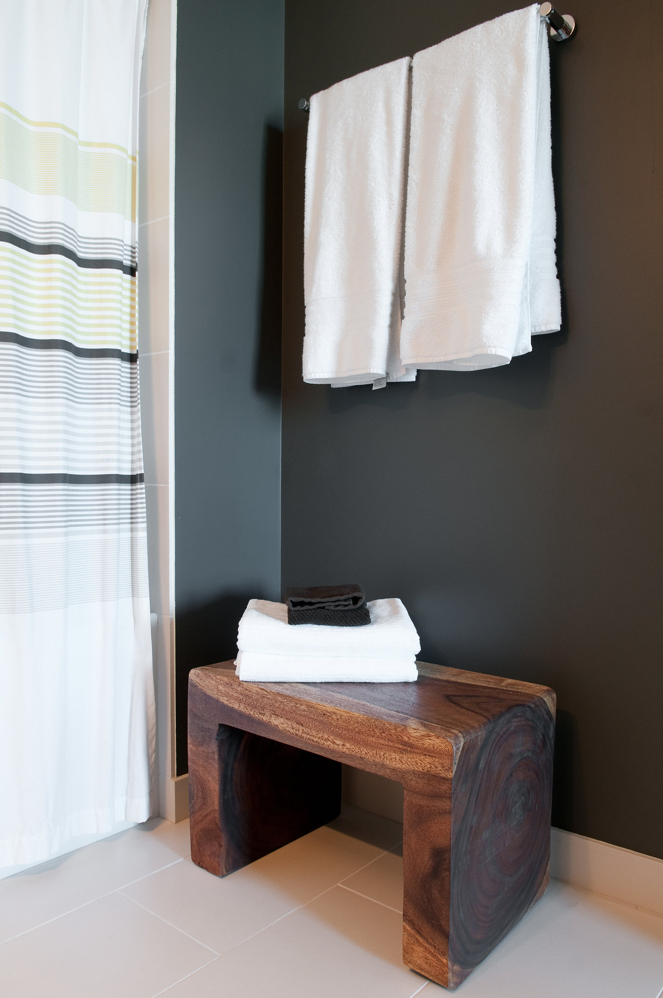 Small wooden stool for bathroom