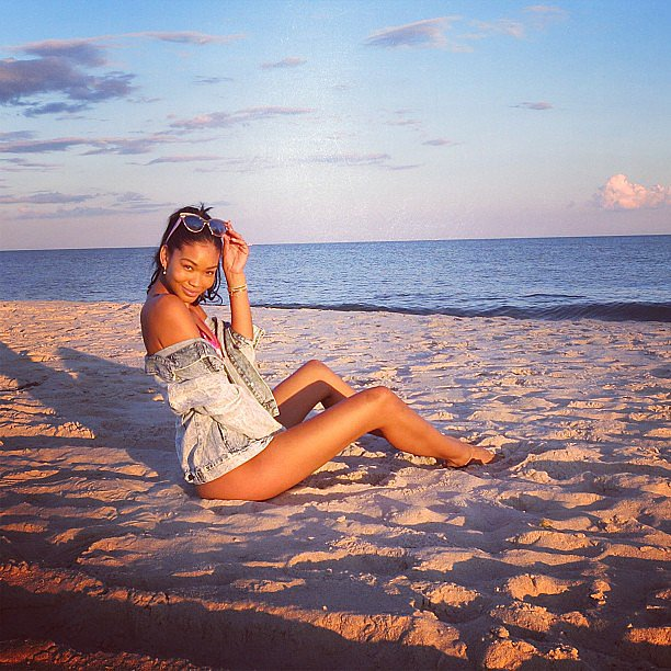 Chanel Iman relaxed on the beach in style. Source: Instagram user chaneliman