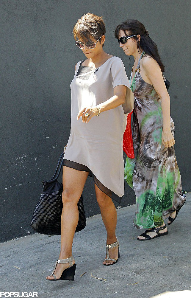 Pregnant Halle Berry wore a gray sundress in LA.