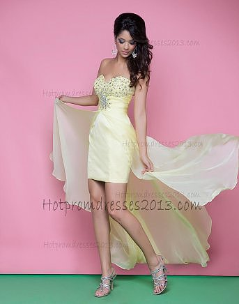 Sweetheart Light Yellow Fuschia High Low Sequin Homecoming Dress