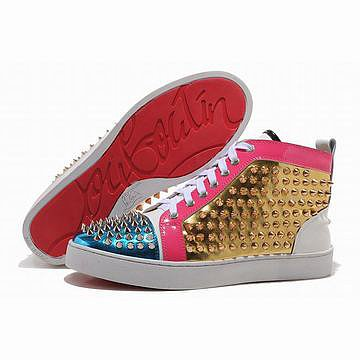 Red Bottom Christian Louboutin Louis Spikes High Top Mens Sneakers Blue Gold