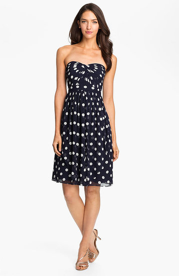 Jenny Yoo Strapless Polka Dot Convertible Chiffon Dress