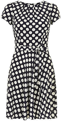 Billie and Blossom Navy and ivory spot dress