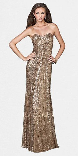 Strapless Sweetheart All Over Sequin Prom Dresses by La Femme