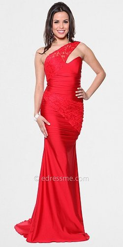 One Shoulder Lace Strap Prom Dresses By Atria