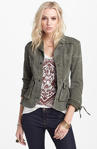 Free People Ruffle Hem Twill Jacket X-Small