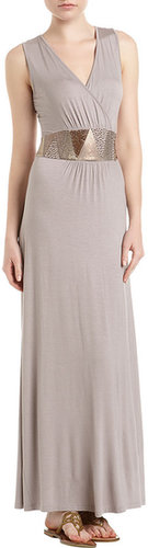 Neiman Marcus Grecian Maxi Dress, Fashion Gray