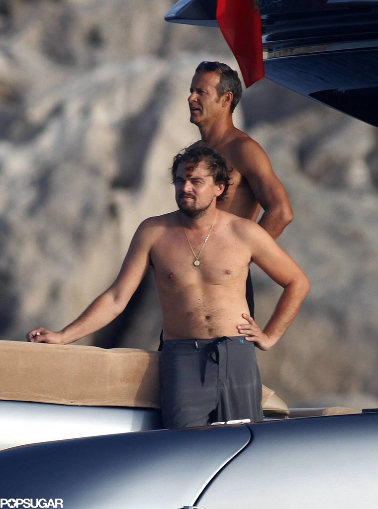 Leonardo DiCaprio relaxed shirtless on a boat on Tuesday.