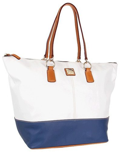 Dooney & Bourke - Lambskin Color Blocks O-Ring Shopper (White/Denim) - Bags and Luggage