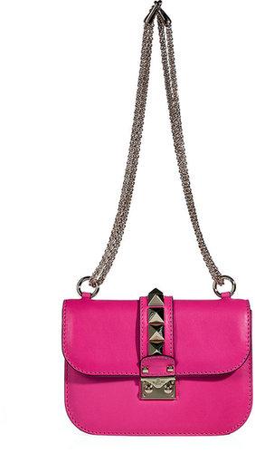 Valentino Pink Leather Rockstud Shoulder Bag