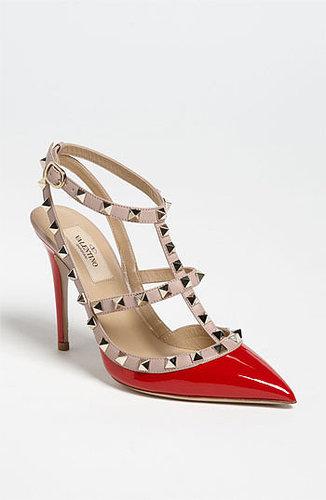 Valentino 'Rockstud' T-Strap Pump Red Patent 38 EU