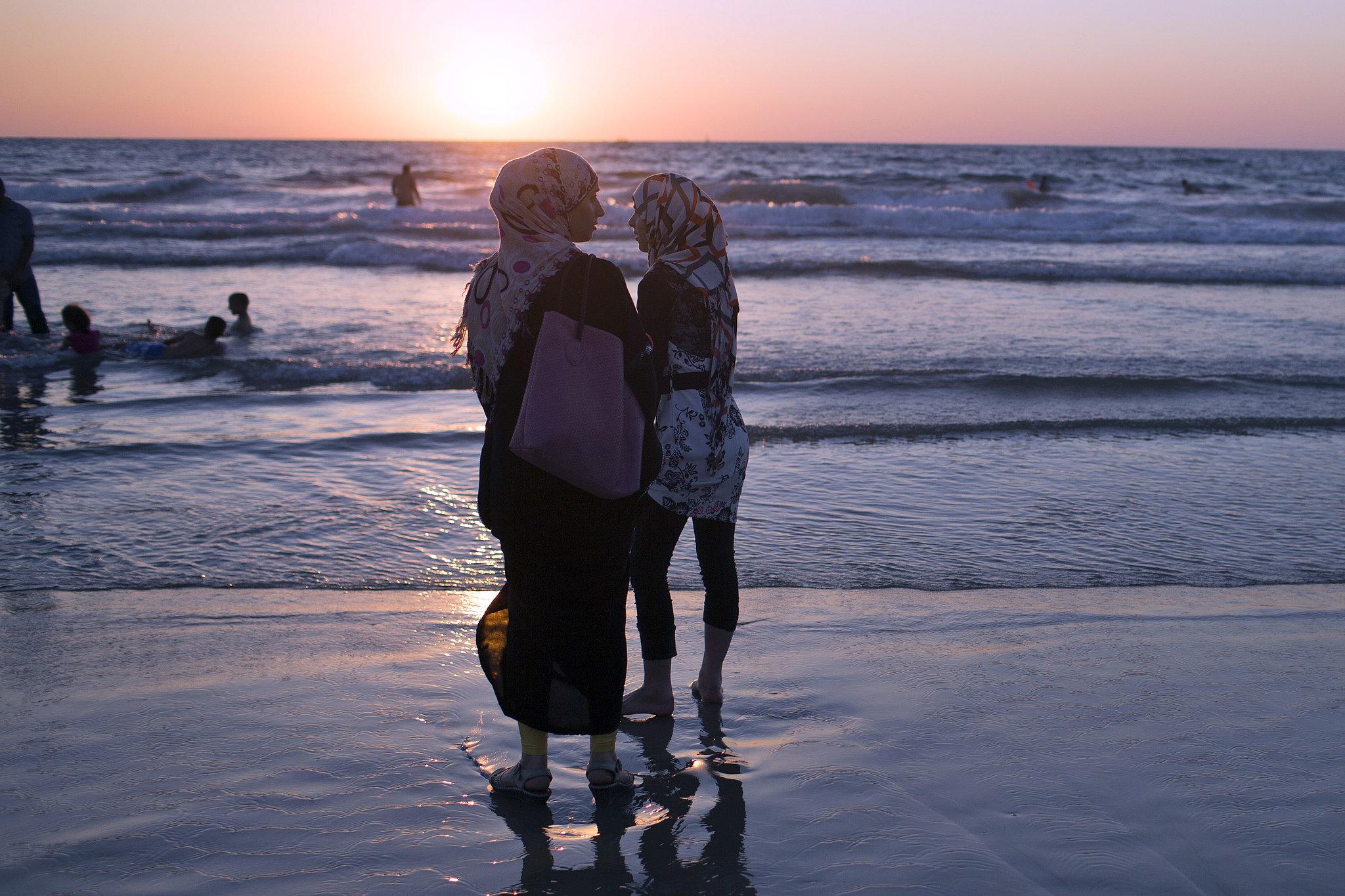 Women in Tel Aviv, Israel, took in the sunset during Eid
