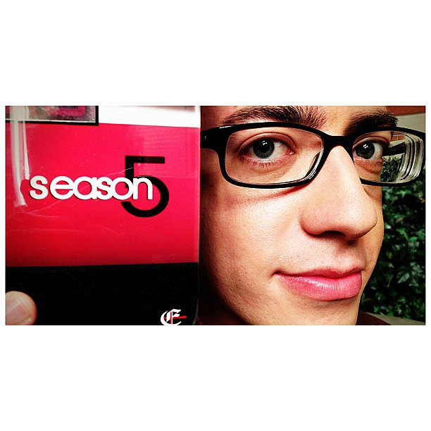 Kevin McHale shared a photo from his first day back on the set of Glee. Source: Instagram user kevinmchale