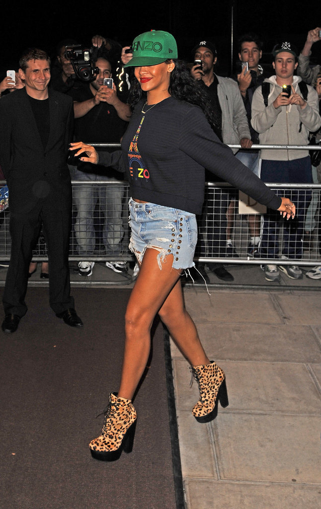 We love the urban-cool vibe of Rihanna's emerald Kenzo ball cap, denim cutoffs, and leopard Chloë Sevigny for Opening Ceremony boots.