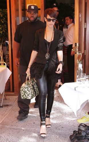 From her Elizabeth and James plume-trim coat to her leather leggings, the Barbados beauty's 2008 monochrome look was a textured home run.