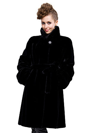 cheap quality black faux mink fur collar|long coat|free shipping