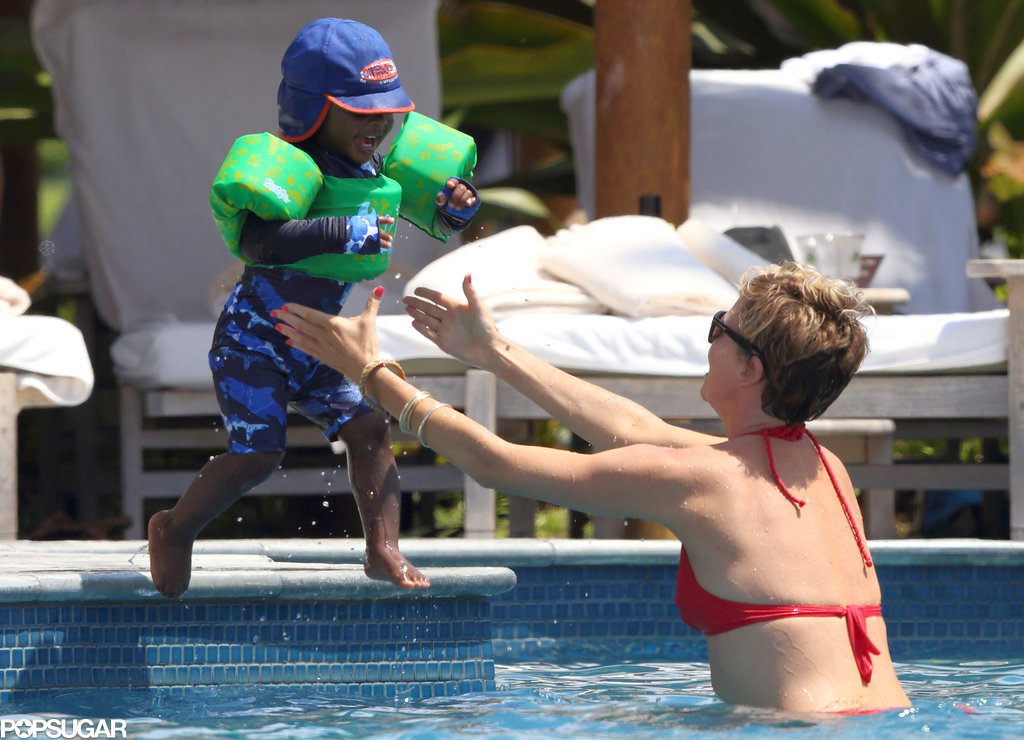 Charlize Theron and Jackson splashed around in a pool.