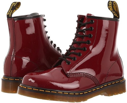 Dr. Martens - 1460 8-Tie Boot (Cherry Red Patent Lamper) - Footwear