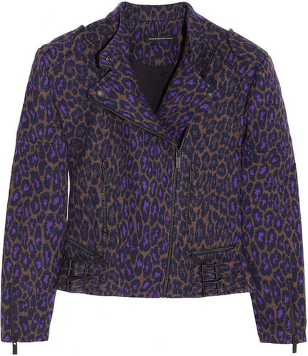 Christopher Kane Leopard-print wool biker jacket