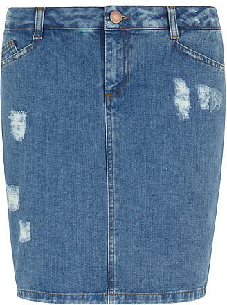 Midwash rip denim pencil skirt