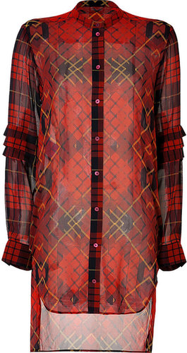 McQ Alexander McQueen Silk Plaid Shirtdress in Oxblood