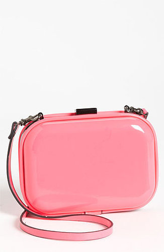 Natasha Couture Patent Box Clutch Hot Pink