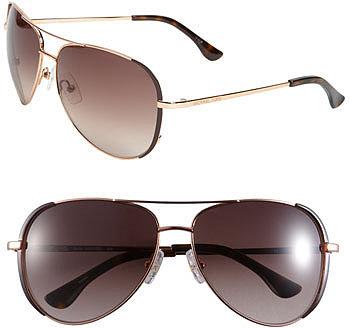 MICHAEL Michael Kors 'Sicily' 59mm Metal Aviator Sunglasses Dark Brown One Size