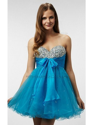 Stylish Princess Sweetheart Beading Short/Mini Blue Dress for Homecoming 2013